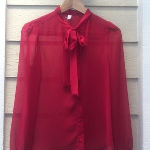 American Apparel Chiffon Red Tie Top XS